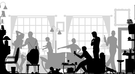 Foreground silhouette of a family gathering in a living room with all elements as separate editable objects Vektoros illusztráció