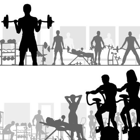 Dos siluetas de vectorial editable de ejercicio en el gimnasio de personas