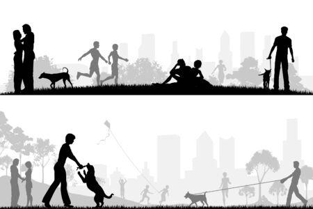 Deux dessins vectoriels modifiables des parcs de la ville avec tous les éléments comme des objets modifiables distincts