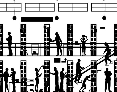 Editable vector silhouette of people in a library with all elements as separate objects Vector Illustration