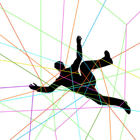 Editable vector illustration of a man entangled in colorful threads