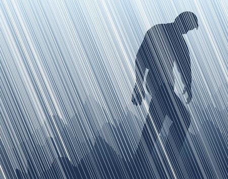 Illustration vectorielle modifiable d'un homme marchant sous une pluie torrentielle