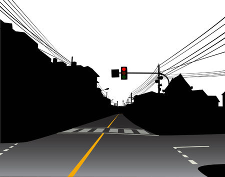 Editable vector design of red traffic light over a dark and empty street