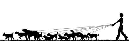 Foreground silhouette of a woman walking many dogs with all elements as separate editable objects
