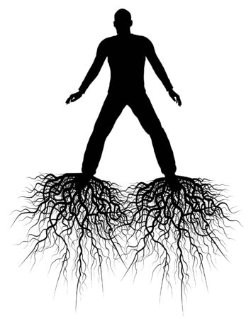 Editable silhouette of a man with roots from his feet