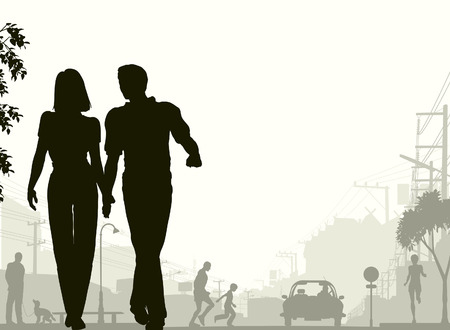 Editable silhouette of a couple walking down a street with all silhouette elements as separate objects.