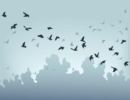 illustratie van een koppel van vogels vliegen