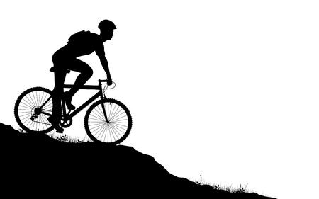 voorgrond silhouet van een man op een mountainbike Vector Illustratie