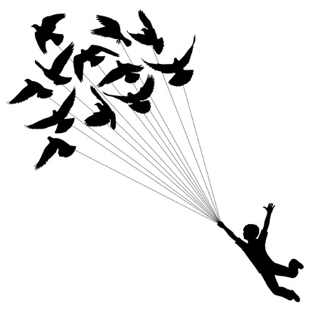 silhouette of a boy carried by flying pigeons