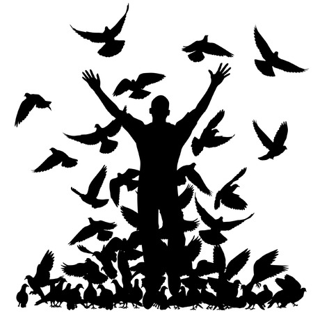 silhouette of a man and flock of pigeons with all elements as separate objects