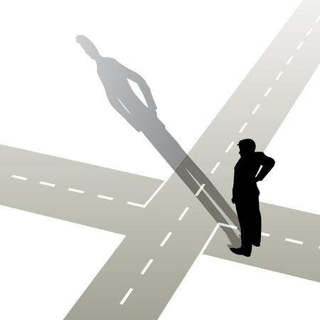 illustratie van een man die op een kruis punt  Vector Illustratie