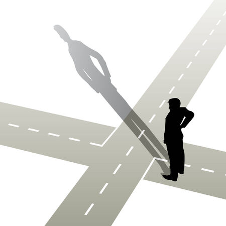 illustration of a man standing at a crossroads Vetores