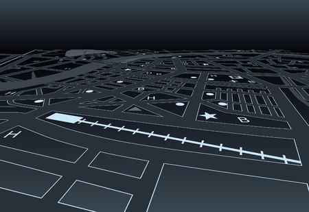 Straßenkarte von einem generischen Stadt bei Nacht Standard-Bild - 6538921