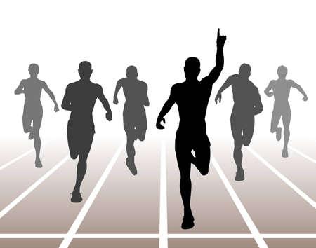 Editable illustration of men finishing a sprint race