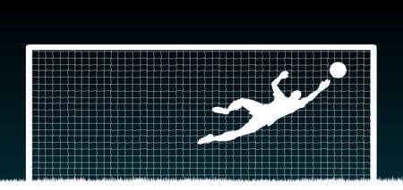 Ilustración editable de un portero de fútbol haciendo un save