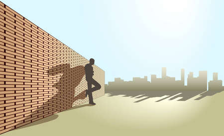 Editable illustration of a man leaning against a wall