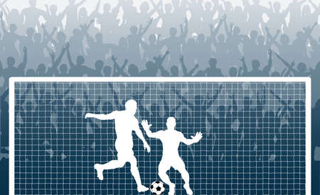 Editable illustration of a cheering crowd watching a penalty kick in a soccer match