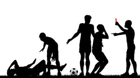 Editable silhouette of a referee sending off a footballer with all elements as separate objects