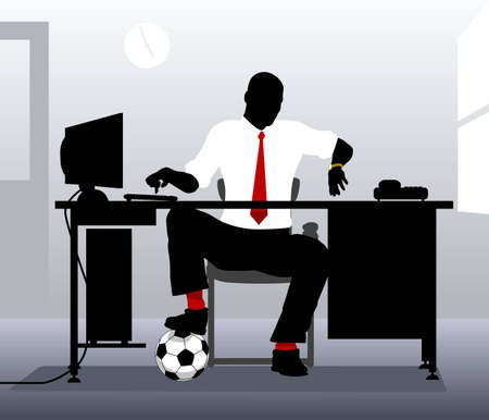 Editable vector illustration of an office worker with a football looking at his watch Illustration
