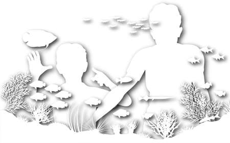 Illustration of a mother and son looking at fish in an aquarium Stock Illustration - 6997399