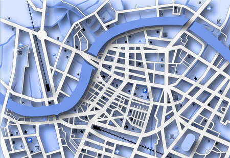 conurbation: Illustrated streetmap of a generic city with no names Stock Photo