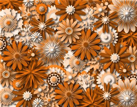 Background illustration of generic orange-tinted flowers Stock Illustration - 6997478