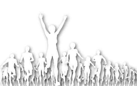 Illustration of a woman winning a race Stock Illustration - 6997372