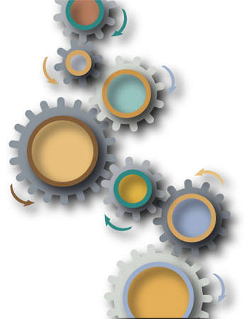 chain reaction: Abstract illustrated design of cog wheels and shadows Stock Photo