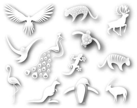 leopard gecko: Collection of cutout designs of animal shapes Stock Photo