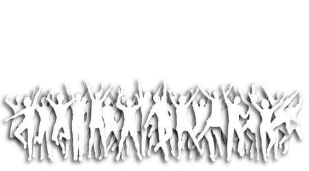 Illustration of cutout people jumping in celebration Stock Illustration - 6997394