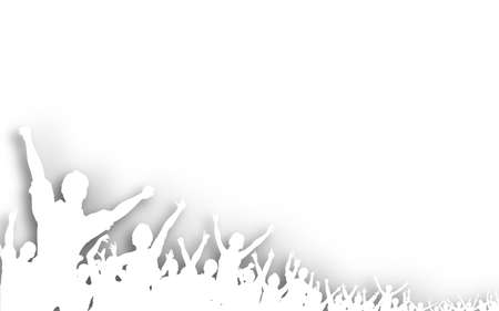Illustration of a white cutout crowd silhouette illustration