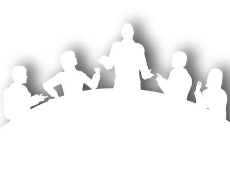 Illustrated silhouette of a business meeting around a table