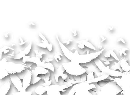 Illustrated foreground of a flock of white pigeons