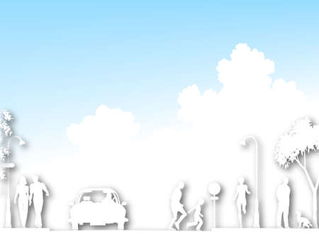 sportscar: Cutout white silhouette of a busy street with clouds