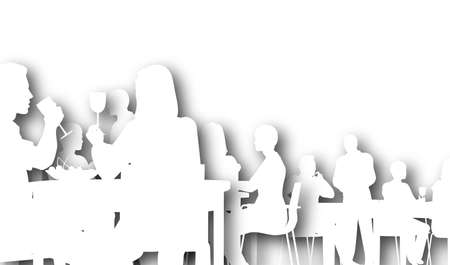Illustrated silhouette of people eating in a restaurant photo