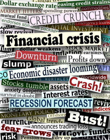 economic recession: Background design of newspaper headlines about economic problems