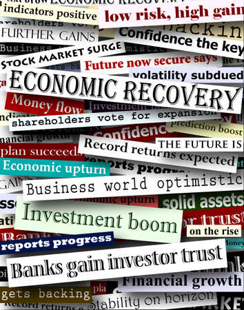 economic recovery: Background design of newspaper headlines about economic recovery