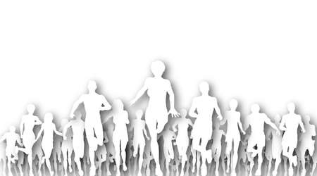Illustrated cutout silhouettes of many people running Stock Photo - 6997386