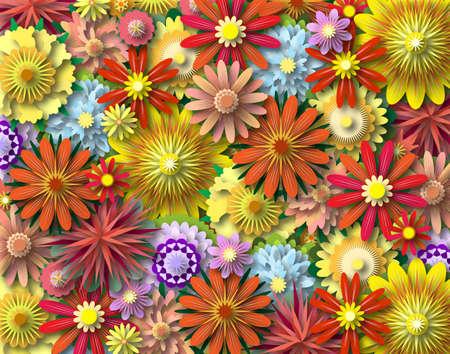 Illustrazione di sfondo di vari fiori colorati con ombreggiatura  Archivio Fotografico - 6997606