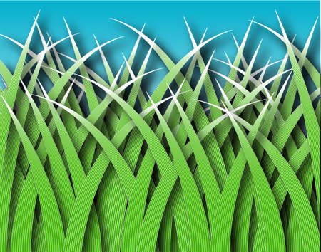 grass blades: Illustrated design of stylized grass blades with shading Stock Photo