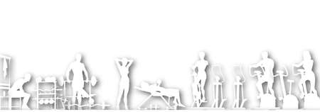 foreground: Illustrated foreground of a gym scene in silhouette with copy-space Stock Photo