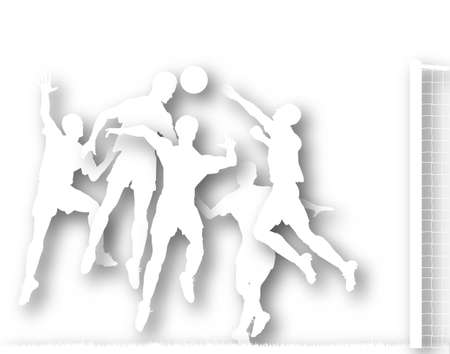 striker: Illustrated silhouette of a footballer heading the ball at goal