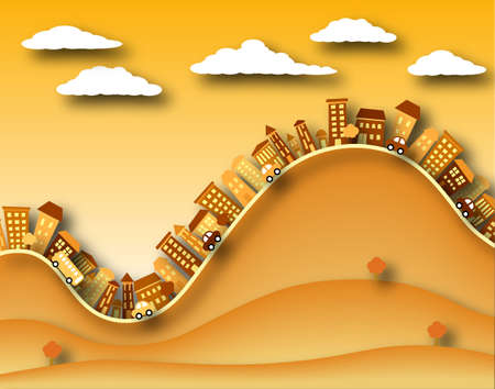 hilly: Illustration of a hilly town with shadows Stock Photo