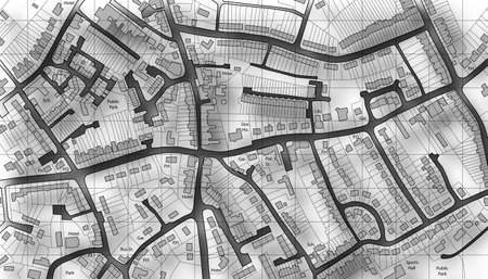 Illustrated map of housing in a generic town photo