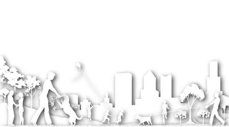 Illustrated design of people in a city park Stock Photo - 6997508