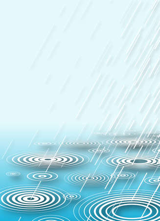 Illustration of rain falling into water with copy-space Stock Illustration - 6997554