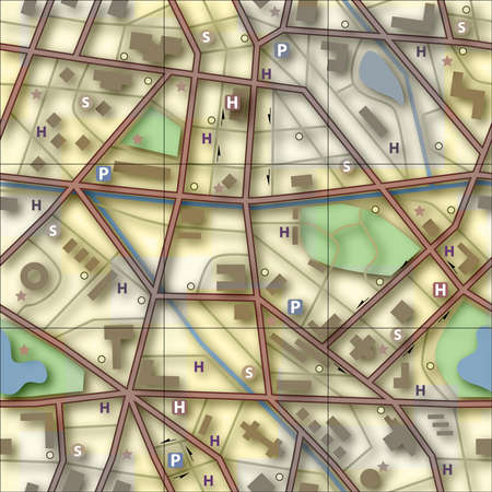 conurbation: Illustration of a generic city without names Stock Photo