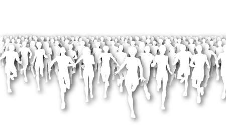 Illustration of a large group of people running  Stock Illustration - 6997518