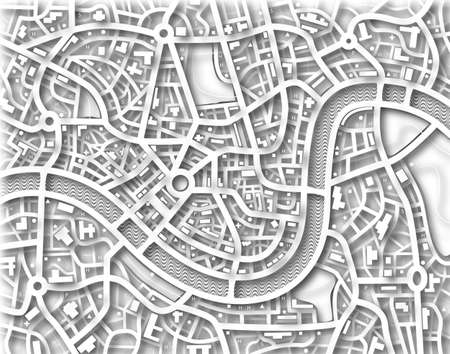 Illustration of a street map without names Stock Illustration - 6997582