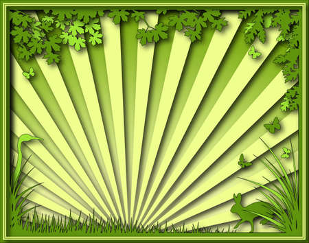 Illustration of a natural scene with frame Stock Illustration - 6997576